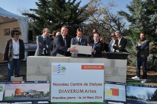 Pose de la première pierre du centre de   dialyse Diaverum au CHJ Imbert