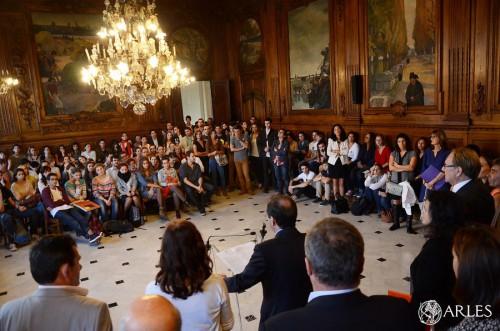 La réception en l'honneur des étudiants de l'enseignement supérieur en salle d'honneur de l'Hôtel de Ville. photo Daniel Bounias, ville d'Arles