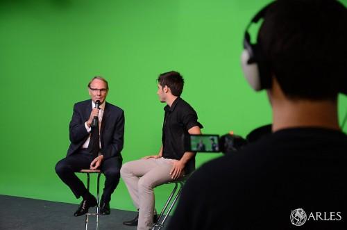 Yvon Berland a été interviewé par les étudiants de l'IUT dans le studio de l'établissement. photo Daniel Bounias ville d'Arles