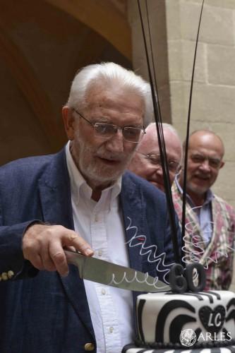 Lucien Clergue fête ses 80 ans au musée Réattu, lors du vernissage de l'exposition Les Clergue d'Arles en juillet 2014. photo Romain Boutillier, ville d'Arles