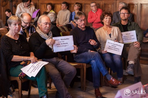 Réunion projet de contournement autoroutier avec Michel Vauzelle, salle d'honneur Hôtel de Ville, Arles