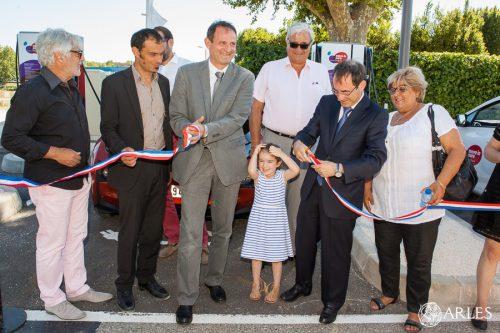 Inauguration d'une station de recharge pour véhicules électriques. 1, av Jean-Monnet, parking devant le jardin Hortus